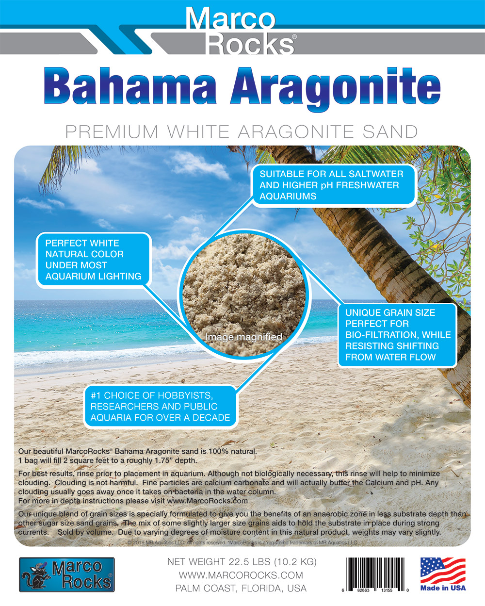 Bahama Aragonite Product Label